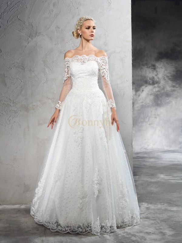 Ivory Net Off-the-Shoulder Ball Gown Floor-Length Wedding Dresses