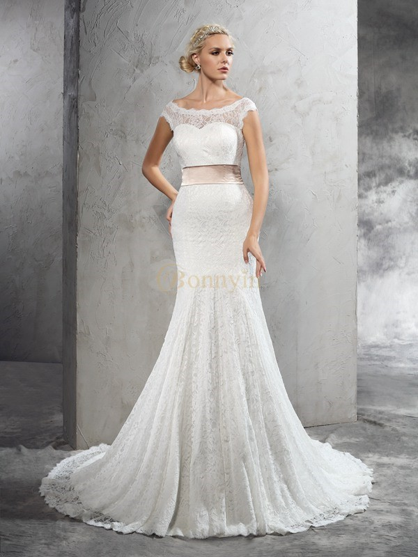 Ivory Lace Sheer Neck Sheath/Column Court Train Wedding Dresses