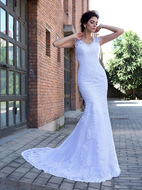 White Satin V-neck Trumpet/Mermaid Chapel Train Wedding Dresses
