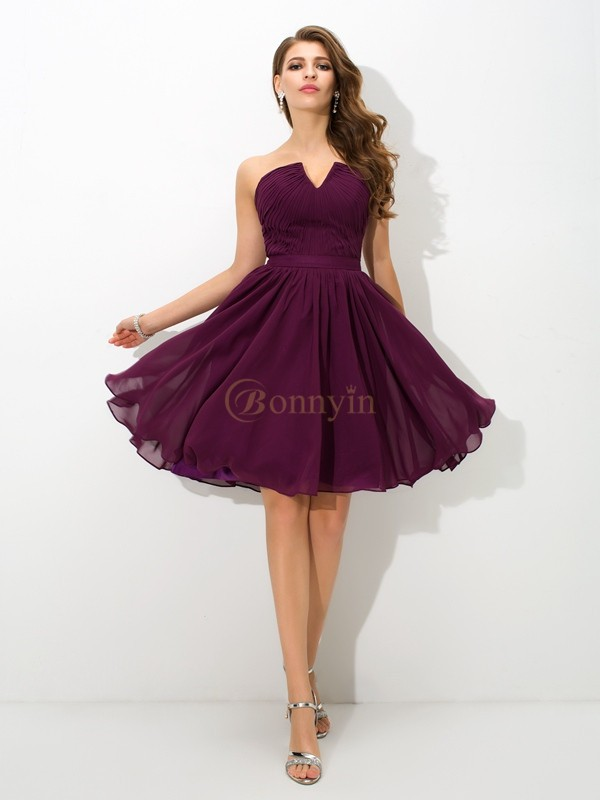 Grape Chiffon V-neck A-Line/Princess Knee-Length Bridesmaid Dresses