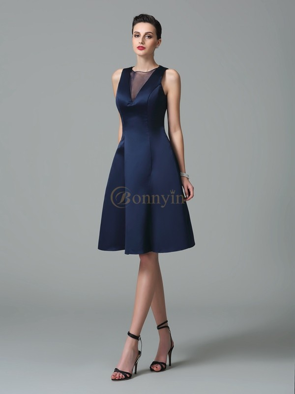 Dark Navy Satin Jewel A-Line/Princess Knee-Length Bridesmaid Dresses