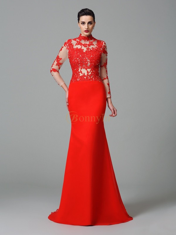 Red Chiffon High Neck Trumpet/Mermaid Sweep/Brush Train Evening Dresses