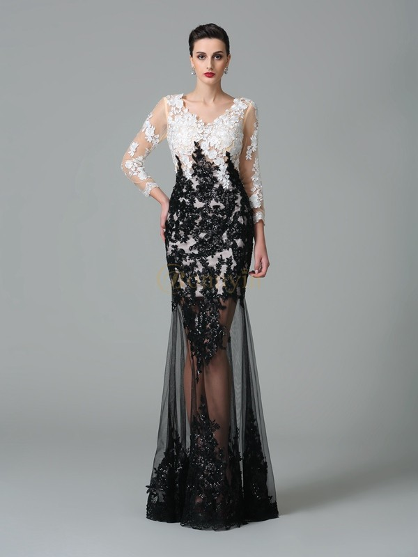 Black Net V-neck Sheath/Column Floor-Length Evening Dresses