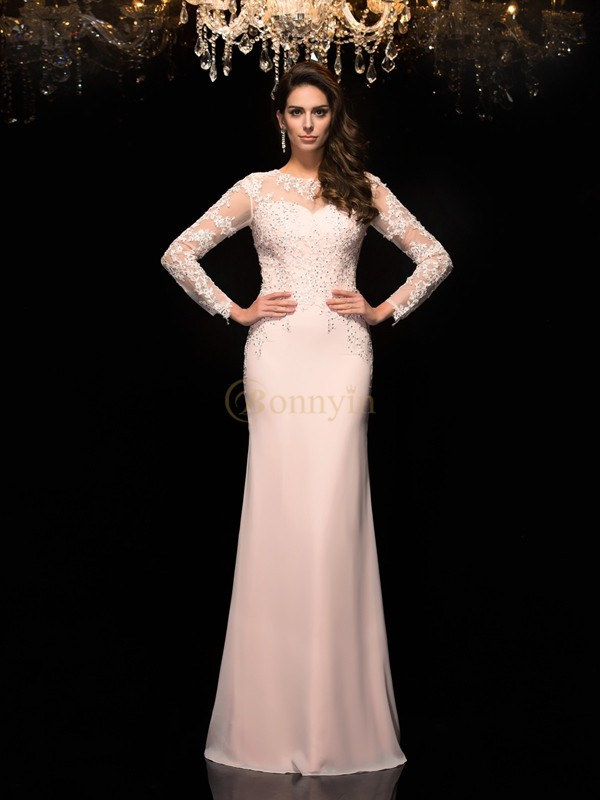 Pink Chiffon Sheer Neck Sheath/Column Floor-Length Evening Dresses