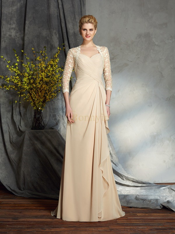 Champagne Chiffon Sweetheart A-Line/Princess Sweep/Brush Train Mother of the Bride Dresses