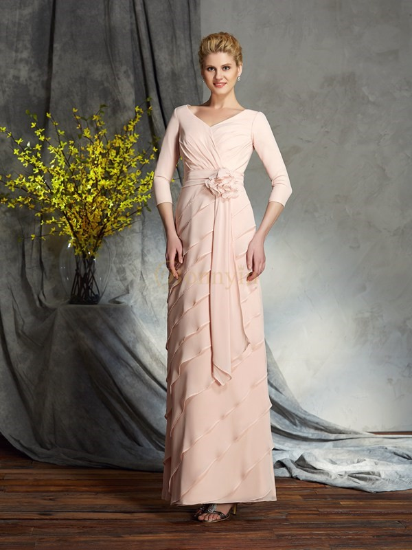 Pink Chiffon V-neck Sheath/Column Floor-Length Mother of the Bride Dresses