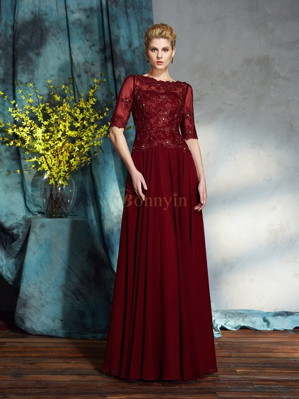 Red Chiffon Bateau A-Line/Princess Floor-Length Mother of the Bride Dresses