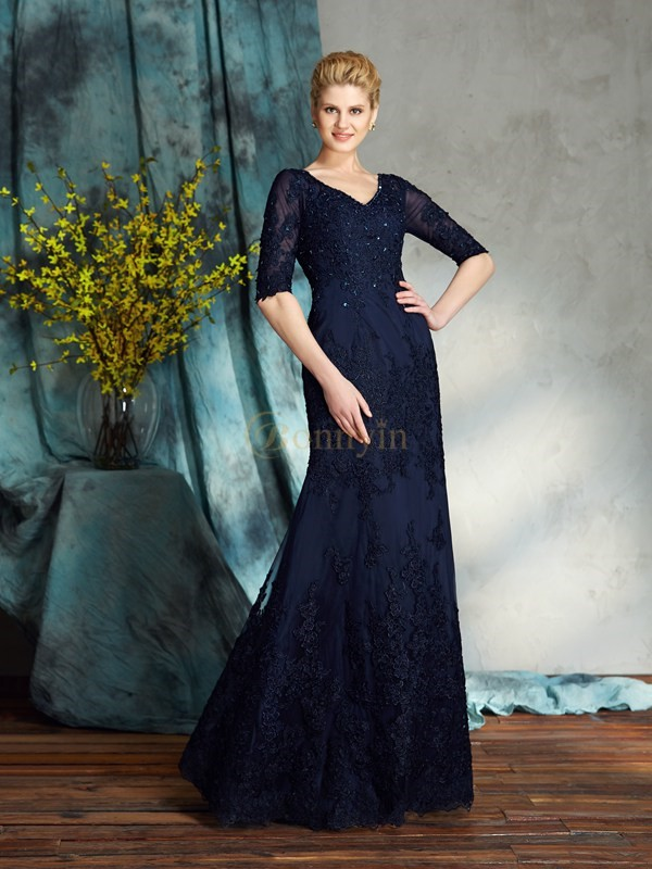 Dark Navy Satin V-neck Sheath/Column Floor-Length Mother of the Bride Dresses