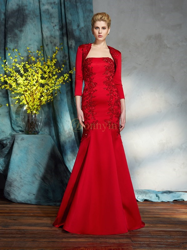 Red Satin Strapless Trumpet/Mermaid Floor-Length Mother of the Bride Dresses