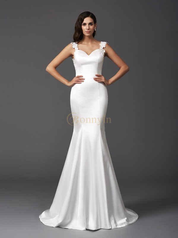 Ivory Satin Straps Trumpet/Mermaid Sweep/Brush Train Wedding Dresses