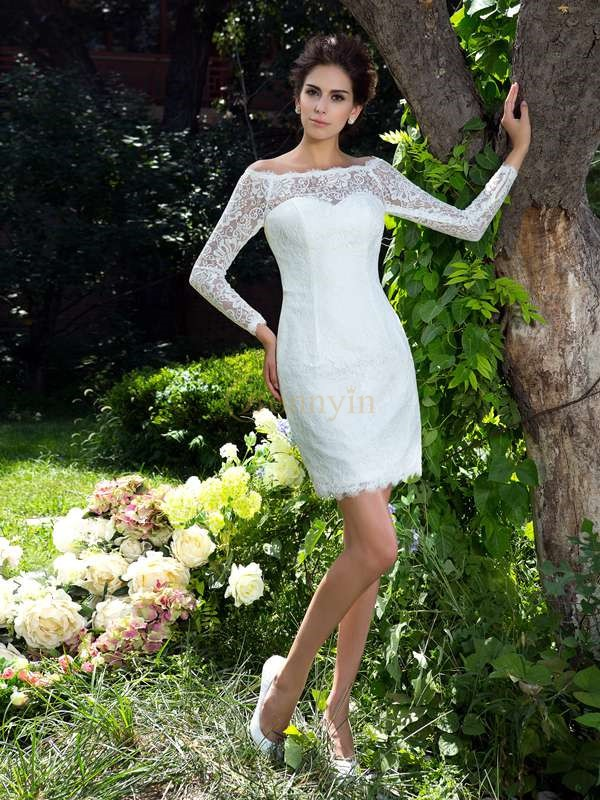 Ivory Satin Scoop Sheath/Column Short/Mini Wedding Dresses
