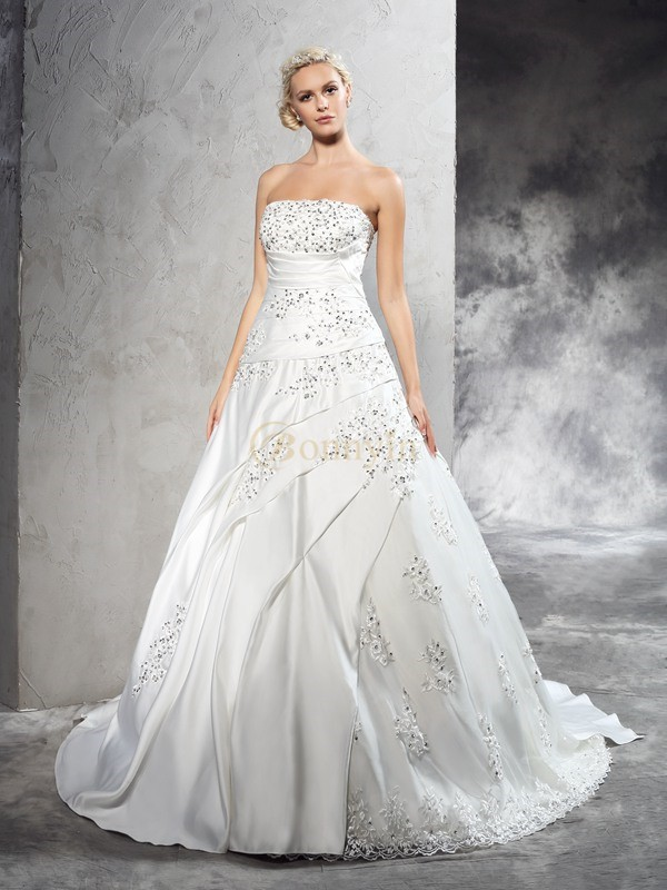 Ivory Satin Strapless Ball Gown Court Train Wedding Dresses