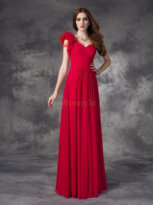 Red Chiffon One-Shoulder A-line/Princess Floor-length Prom Dresses