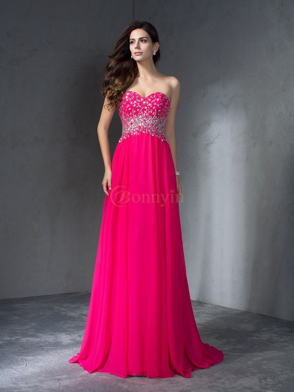 Fuchsia Chiffon Sweetheart A-Line/Princess Sweep/Brush Train Prom Dresses