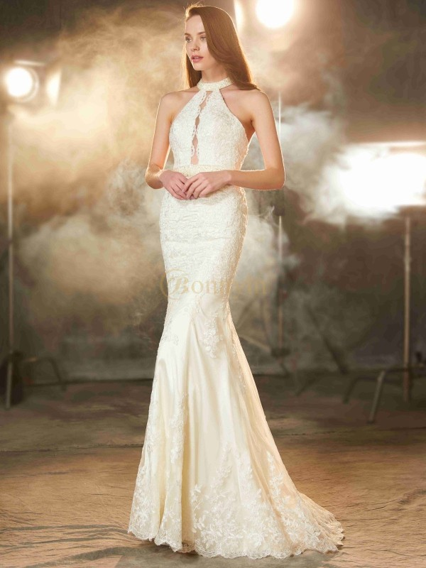 Ivory Lace Jewel Sheath/Column Floor-Length Prom Dresses