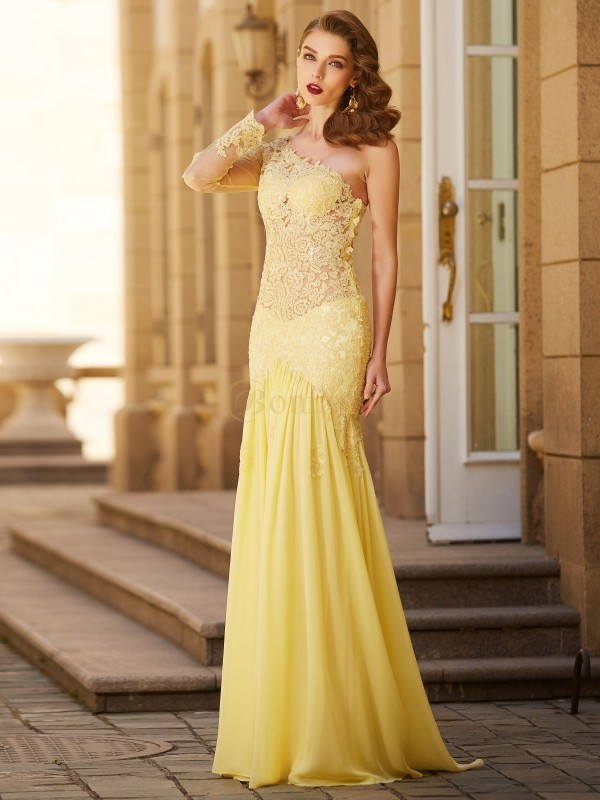 Yellow Chiffon One-Shoulder Sheath/Column Sweep/Brush Train Dresses