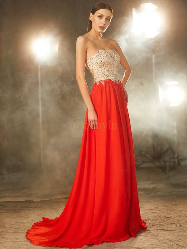 Red Chiffon Strapless A-Line/Princess Sweep/Brush Train Prom Dresses