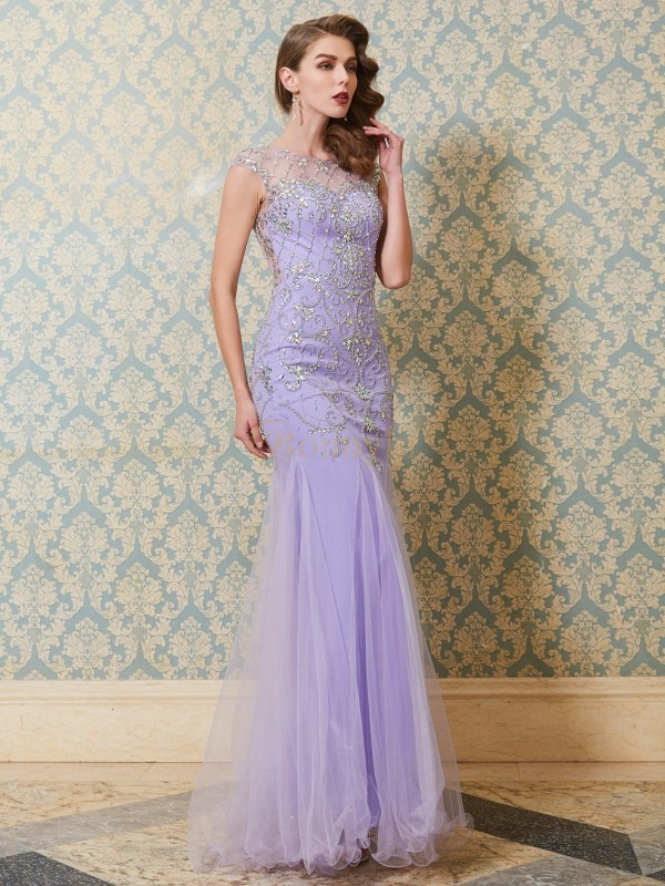 Lavender Tulle Scoop Trumpet/Mermaid Floor-Length Prom Dresses