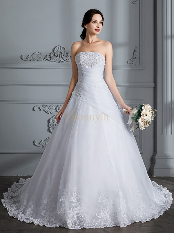 White Organza Strapless Ball Gown Court Train Wedding Dresses