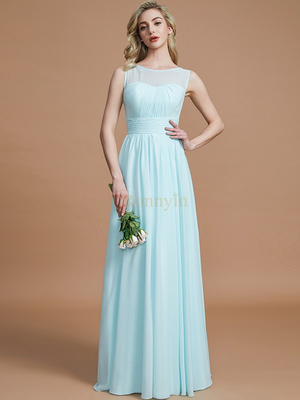 Light Sky Blue Chiffon Scoop A-Line/Princess Floor-Length Bridesmaid Dresses