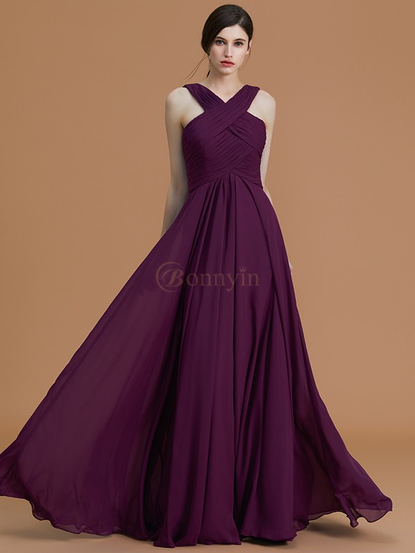 Grape Chiffon Halter A-Line/Princess Floor-Length Bridesmaid Dresses