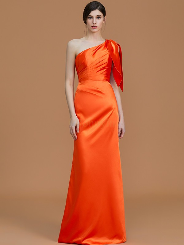 Orange Satin One-Shoulder Trumpet/Mermaid Floor-Length Bridesmaid Dresses