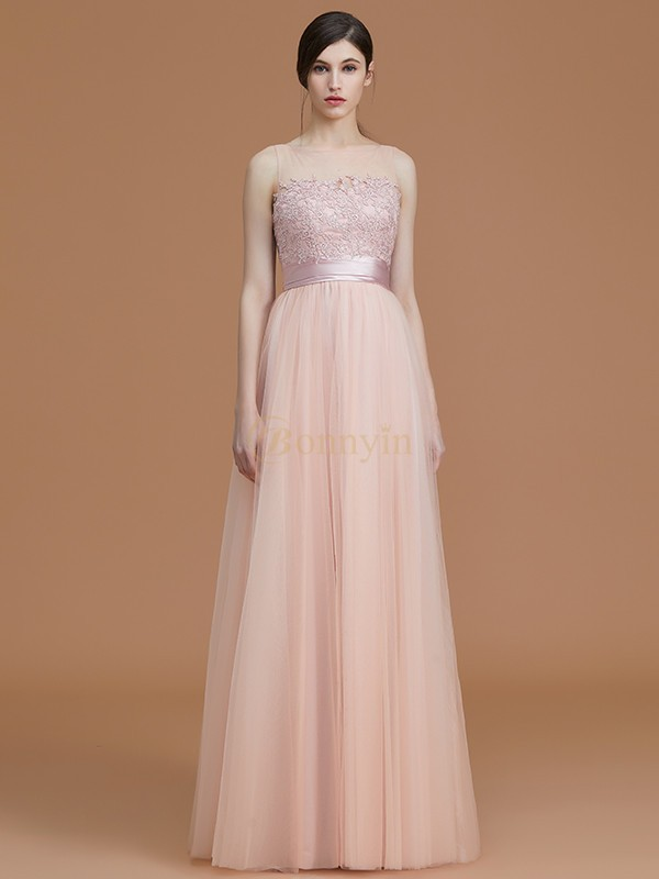 Pink Tulle Bateau A-Line/Princess Floor-Length Bridesmaid Dresses