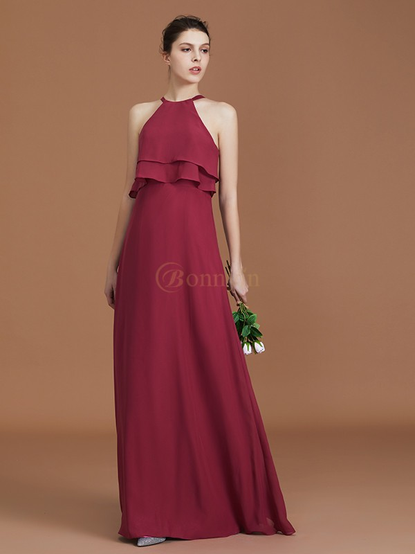 Fuchsia Chiffon Scoop A-Line/Princess Floor-Length Bridesmaid Dresses