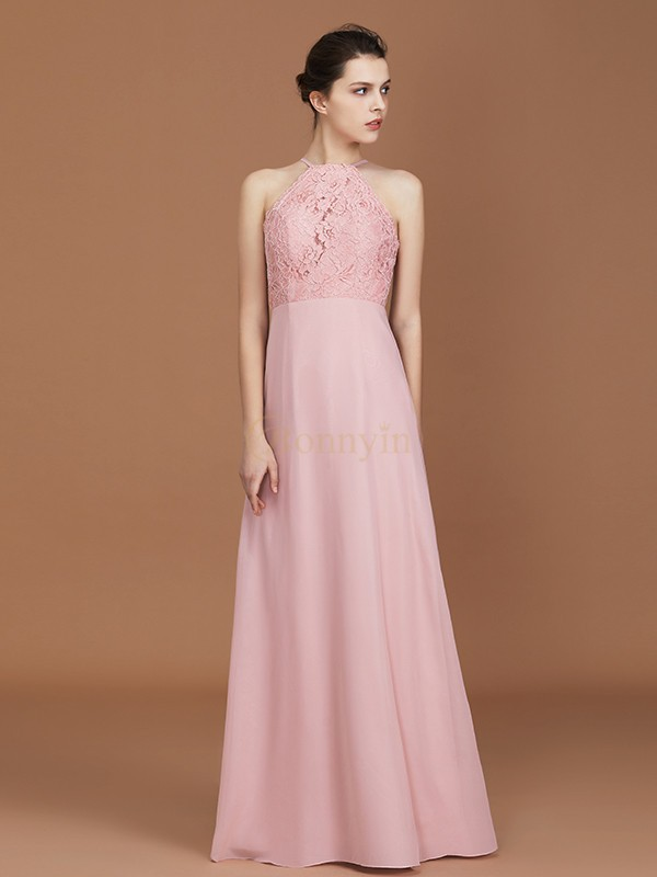 Pearl pink Chiffon Halter A-Line/Princess Floor-Length Bridesmaid Dresses