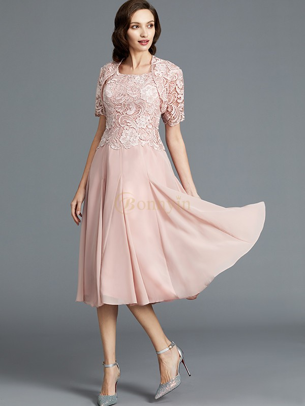 Pink Chiffon Scoop A-Line/Princess Tea-Length Mother of the Bride Dresses