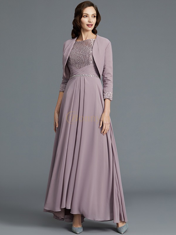 Lilac Chiffon Scoop A-Line/Princess Asymmetrical Mother of the Bride Dresses