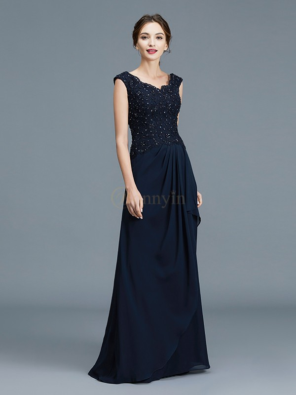 Dark Navy Chiffon V-neck A-Line/Princess Floor-Length Mother of the Bride Dresses