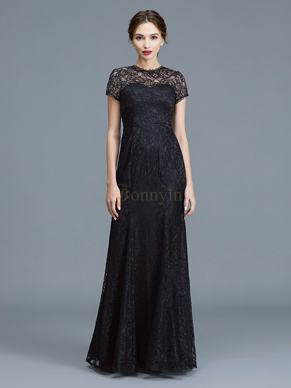 Black Lace Scoop Trumpet/Mermaid Floor-Length Mother of the Bride Dresses