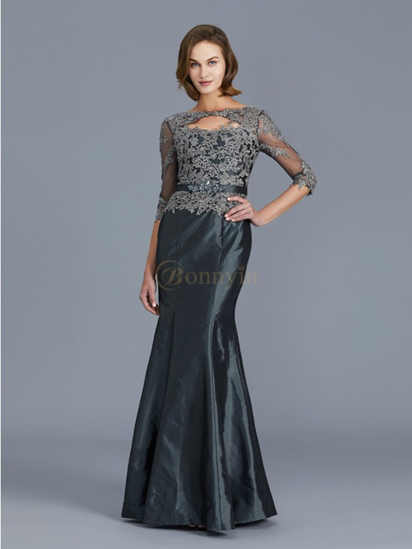 Grey Taffeta Scoop Trumpet/Mermaid Floor-Length Mother of the Bride Dresses