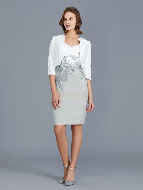 Silver Chiffon V-neck Sheath/Column Knee-Length Mother of the Bride Dresses