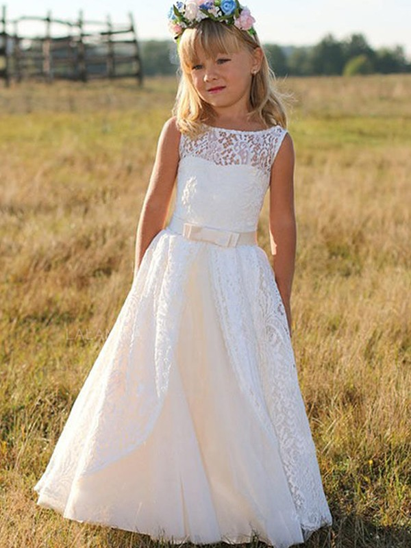 White Lace Scoop A-Line/Princess Floor-Length Flower Girl Dresses