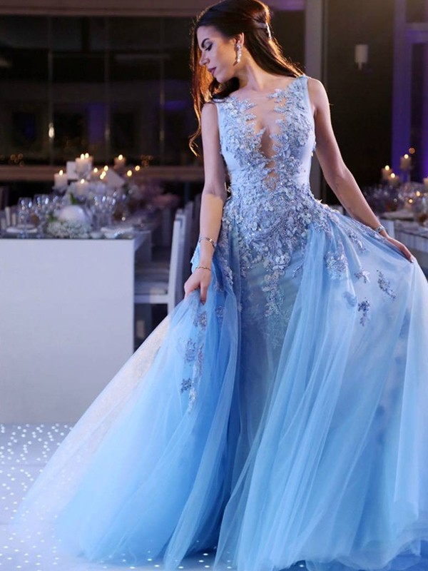 Blue Tulle Scoop Ball Gown Sweep/Brush Train Dresses