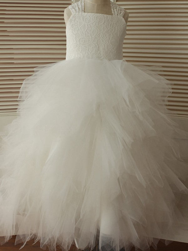 Ivory Tulle Straps A-Line/Princess Ankle-Length Flower Girl Dresses