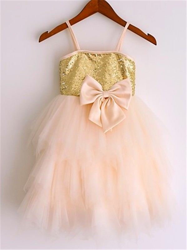 Pearl Pink Net Spaghetti Straps A-line/Princess Tea-Length Flower Girl Dresses