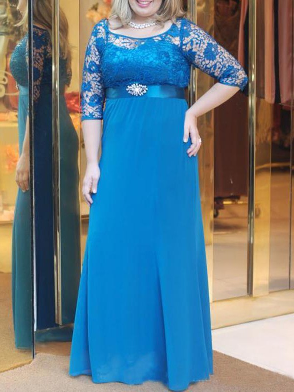 Blue Chiffon Bateau A-Line/Princess Floor-Length Mother of the Bride Dresses