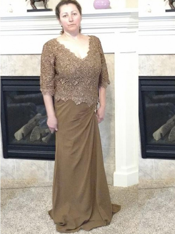Brown Chiffon V-neck Sheath/Column Sweep/Brush Train Mother of the Bride Dresses