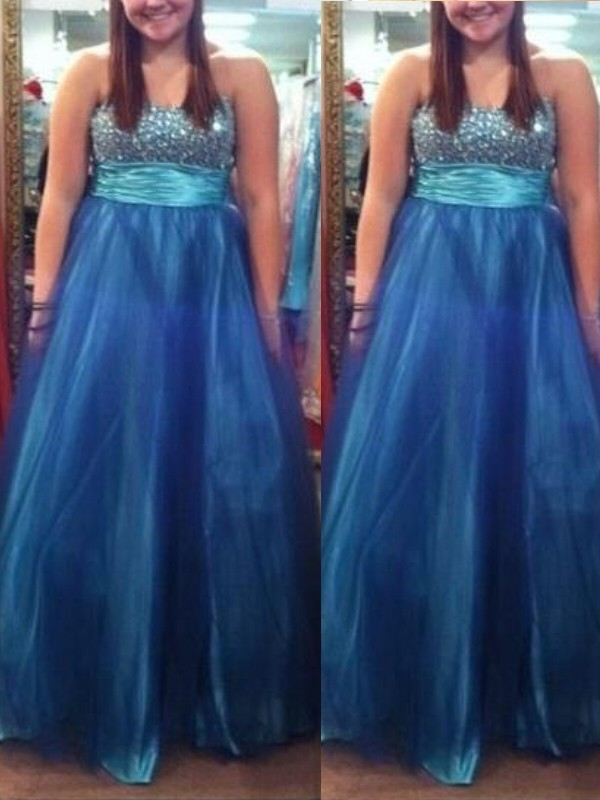Blue Tulle Sweetheart A-Line/Princess Floor-Length Plus Size Dresses