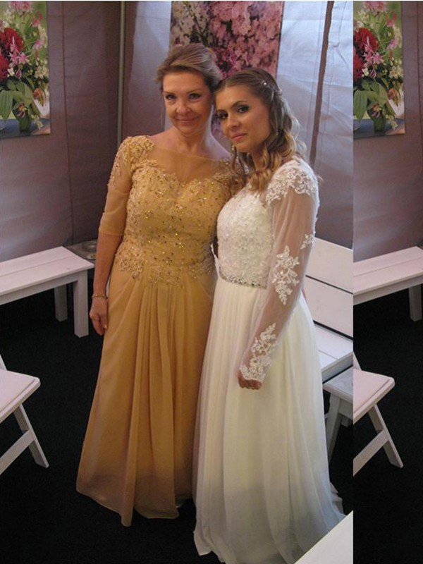 Champagne Chiffon Bateau A-Line/Princess Floor-Length Mother of the Bride Dresses