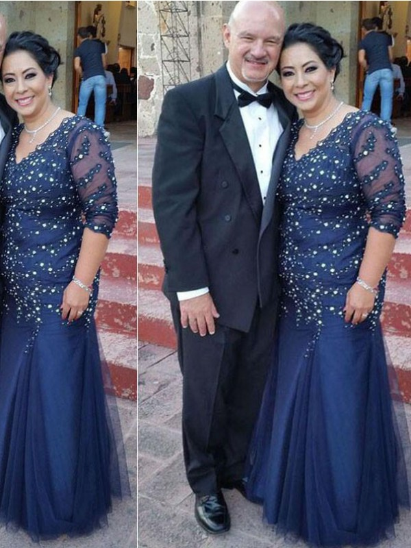 Royal Blue Tulle V-neck Sheath/Column Floor-Length Mother of the Bride Dresses