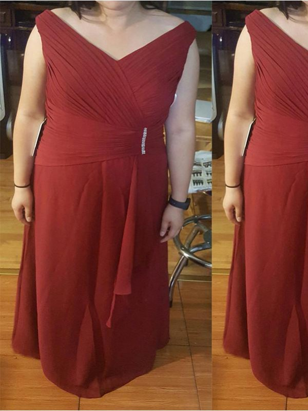 Burgundy Chiffon Straps Sheath/Column Floor-Length Mother of the Bride Dresses