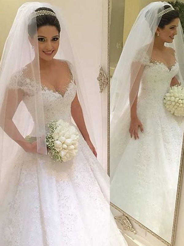 White Tulle V-neck Ball Gown Floor-Length Wedding Dresses