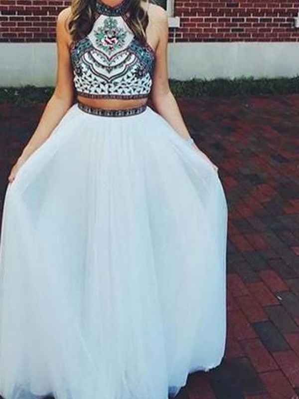 White Net Halter A-Line/Princess Floor-Length Prom Dresses
