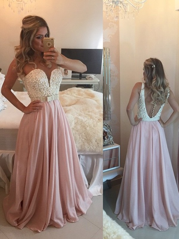 Pearl Pink Chiffon Sweetheart A-Line/Princess Floor-Length Prom Dresses