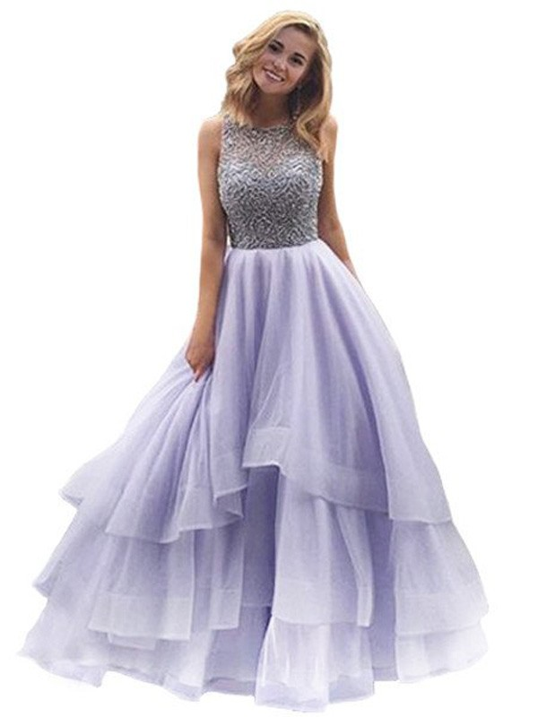 Organza Scoop Ball Gown Floor-Length Prom Dresses