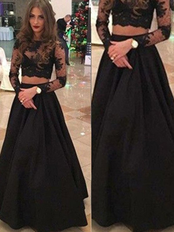 Black Lace Scoop A-Line/Princess Floor-Length Prom Dresses
